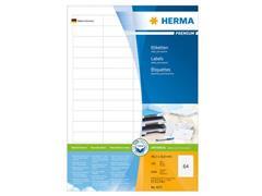 Herma Premium permanent papieretiket, 48,3 x 16,9 mm, 100 vellen, 64 etiketten per A4-vel, wit (pak 6400 stuks)