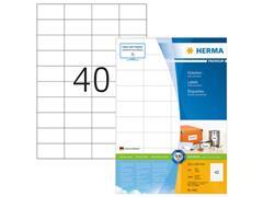 Herma Premium permanent papieretiket, 52,5 x 29,7 mm, 100 vellen, 40 etiketten per A4-vel, wit (pak 4000 stuks)