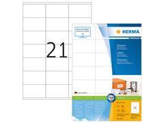 Herma Premium permanent papieretiket, 70 x 41 mm, 100 vellen, 21 etiketten per A4-vel, wit (pak 2100 stuks)