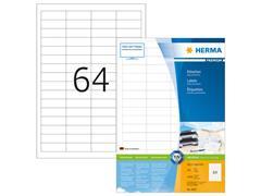 Herma Premium permanent papieretiket, 48,3 x 16,9 mm, 200 vellen, 64 etiketten per A4-vel, wit (pak 12800 stuks)