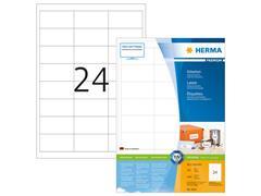 Herma Premium permanent papieretiket, 66 x 33,8 mm, 200 vellen, 24 etiketten per A4-vel, wit (pak 4800 stuks)