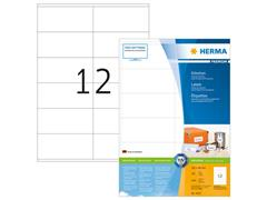 Herma Premium permanent papieretiket, 105 x 48 mm, 200 vellen, 12 etiketten per A4-vel, wit (pak 2400 stuks)