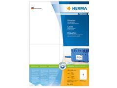 Herma Premium permanent papieretiket, 105 x 148 mm, 100 vellen, 4 etiketten per A4-vel, wit (pak 400 stuks)