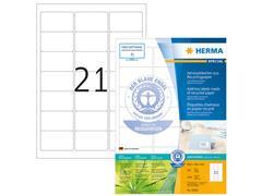 Herma Gerecyclede etiketten met rechte hoeken 63,5x38,1 mm, 10822 (pak 2100 stuks)