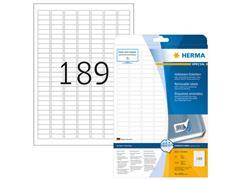 Herma Verwijderbaar prijsetiket, 25,4 x 10 mm, 25 vellen, 189 etiketten per A4-vel, wit (pak 4725 stuks)
