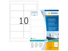 Herma Verwijderbaar papieretiket, 96 x 50,8 mm, 100 vellen, 10 etiketten per A4-vel, wit (pak 1000 stuks)