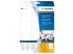 Herma Verwijderbaar papieretiket, 63,5 x 46,6 mm, 25 vellen, 18 etiketten per A4-vel, wit (pak 450 stuks)