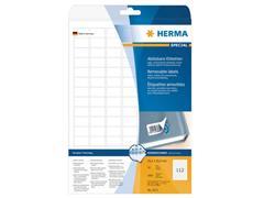 Herma Verwijderbaar papieretiket, 25,4 x 16,9 mm, 25 vellen, 112 etiketten per A4-vel, wit (pak 2800 stuks)