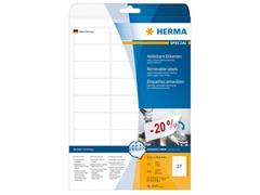 Herma Verwijderbaar papieretiket, 63,5 x 29,6 mm, 25 vellen, 27 etiketten per A4-vel, wit (pak 675 stuks)