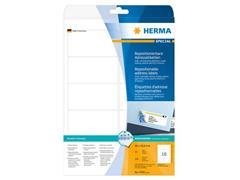 Herma Verwijderbaar papieretiket, 96 x 50,8 mm, 25 vellen, 10 etiketten per A4-vel, wit (pak 250 stuks)