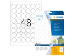 Herma Verwijderbaar papieretiket, rond, 30 mm, 25 vellen, 48 etiketten per A4-vel, wit (pak 1200 stuks)