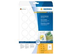 Herma Verwijderbaar papieretiket, rond, 40 mm, wit<BR> (pak 600 stuks)