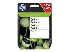 HP 364 Inktcartridge, Zwart en kleur (pak 4 stuks)