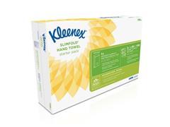 Kleenex® Slimfold gevouwen papieren handdoeken, interfold, 1-laags, 90 vel, reliëf, wit (pak 8 wikkels)