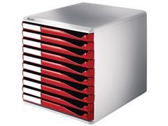 Leitz ladekast 10 laden, grijs/rood
