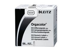 Leitz Orgacolor Cijferlabels op Rol, Cijfer 0, 30 x 23 mm, Wit (pak 500 stuks)