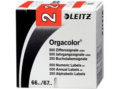 Leitz Orgacolor Cijferlabels op Rol, Cijfer 2, 30 × 23 mm, Rood (pak 500 stuks)