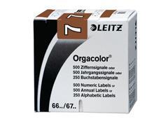 Leitz Orgacolor Cijferlabels op Rol, Cijfer 7, 30 × 23 mm, Bruin (pak 500 stuks)
