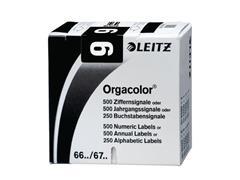Leitz Orgacolor Cijferlabels op Rol, Cijfer 9, 30 x 23 mm, Zwart (pak 500 stuks)