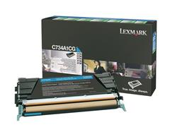 Lexmark C734 Toner, Single Pack, Cyaan