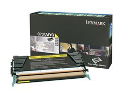 Lexmark C734 Toner, Single Pack, Geel
