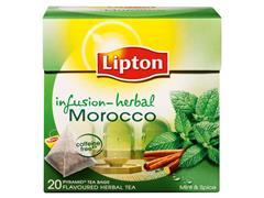 Lipton Morocco Tea, piramidevorm, theeblaadjes, zakje, 2 g (doos 12 x 20 stuks)