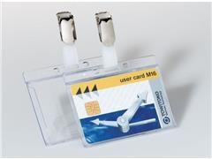 Pashouder, Bevestigingsclip, 1 pas, 54 × 86 mm, Kunststof, transparant (doos 50 stuks)