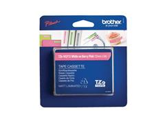 Brother TZe-MQP35 Tape, 12 mm x 5 m, Wit op Berry Roze