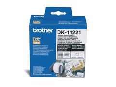 Brother DK-11221 Labels, Papier, 23 x 23 mm, Zwart op Wit (rol 1000 stuks)