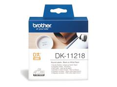 Brother DK-11218 Labels, Papier, diamater 24 mm, Zwart op Wit (rol 1000 stuks)