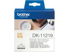 Brother DK-11219 Labels, Papier, diamater 12 mm, Zwart op Wit (rol 1200 stuks)