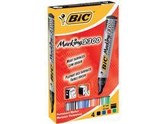 BiC Marking 2300 Permanente Marker, Beitelvormige Punt, 3,7 - 5,5 mm, Zwart, Blauw, Rood, Groen (pak 4 stuks)