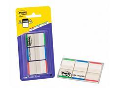 Post-it® Index Strong Standaard 25,4 x 38 mm, groen, blauw en rood met een witte achtergrond (blister 3 blokken)