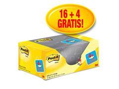 Post-it® Zelfklevend Notitieblok, 38 x 51 mm, Geel (pak 20 blokken)