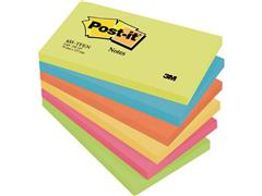 Post-it® Zelfklevend Notitieblok, 76 x 127 mm, Energetic Kleuren (pak 6 blokken)