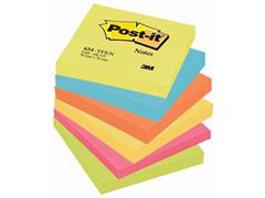 Post-it® Zelfklevend Notitieblok, 76 x 76 mm, Energetic Kleuren (pak 6 blokken)