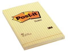 Post-it® Zelfklevend Notitieblok, Geruit, 102 x 152 mm, Geel (pak 6 x 100 vel)