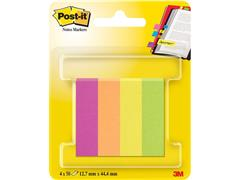 Post-it® Paginamarkers, 12,7 x 44,4 mm, diverse neon- en ultrakleuren, verpakking van 200 (pak 4 blokken)