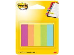 Post-it® Paginamarkers, 12,7 x 44,4 mm, diverse neon- en ultrakleuren, verpakking van 250 stuks (pak 5 blokken)