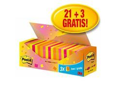 Post-it® Notes Voordeelpak, 76 x 76 mm, Neon kleuren (pak 24 blokken)