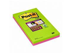 Post-it® Super Sticky Zelfklevend Notitieblok, Gelinieerd, 127 x 203 mm, Assorti (pak 4 blokken)