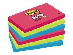 Post-it® Super Sticky Notes Bora Bora kleuren, 76 x 127 mm (pak 6 blokken)