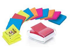 Post-it® Super Sticky Z-Notes dispenser PRO wit + 12 blokken Post-it® Super Sticky Z-Notes Bangkok en Bora Bora kleuren, 76 x 76 mm (pak 13 stuks)