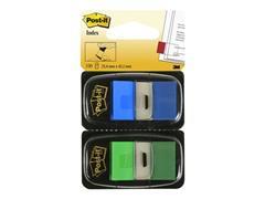 Post-it® Index Standaard Duopack - meerdere kleuren 25,4 x 43,2 mm, groen en blauw (pak 2 stuks)