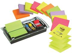 Post-it® Z-Notes Voordeelpak, 12 blokken Post-it® Z-Notes, 76 x 76 mm, neon kleuren + GRATIS Dispenser zwart/transparant + set van 10 Index Tabs