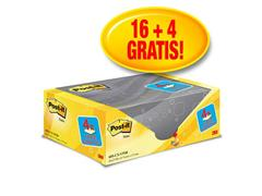 Post-it® Zelfklevend Notitieblok, 76 x 127 mm, Geel (pak 20 blokken)
