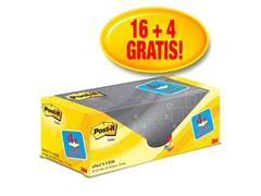 Post-it® Zelfklevend Notitieblok, 76 x 76 mm, Geel (pak 20 blokken)