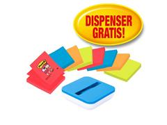 Post-it® Post-it® Super Sticky Z-Notes Voordeelpak, 76 x 76 mm, 8 blokken + Blauwe Dispenser GRATIS (set 9 stuks)