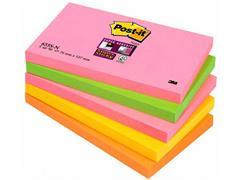 Post-it® Super Sticky Zelfklevend Notitieblok, 76 x 127 mm, Assorti (pak 5 blokken)