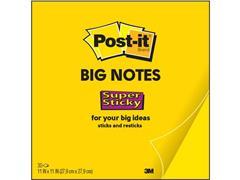 Post-it® Super Sticky Big Zelfklevend Notitieblok, 279 x 279 mm, Geel (blok 30 vel)